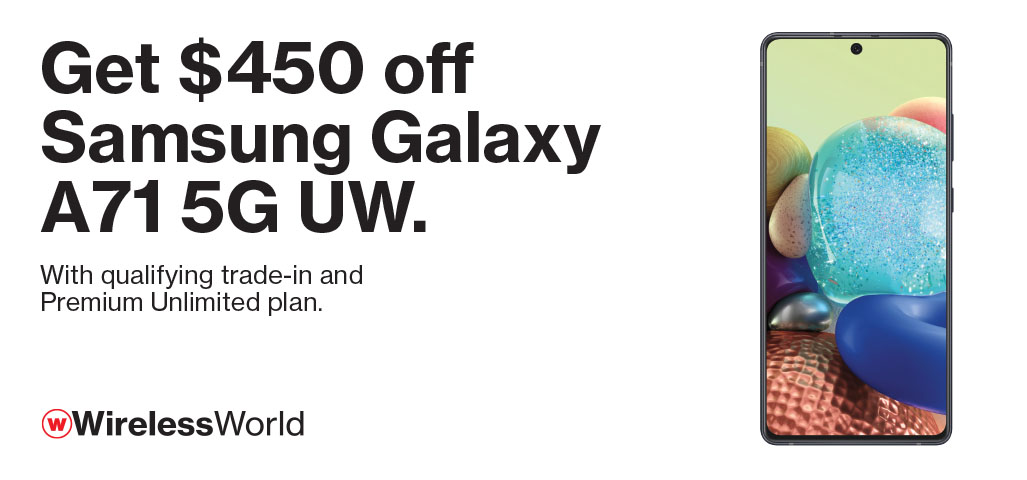 $450 off Samsung Galaxy A71 5G UW with qualifying trade and Premium Unlimited