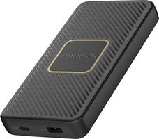 OtterBox 10,000mAh Black Dual Port USB-A (12W)+USB-C PD (18W) Portable Power Bank w/10W Qi Charging