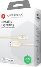 PowerPeak Extra-long Premium Braided Lightning Cable 10 FT. Metallic USB Charge & Sync Cable