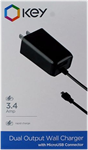 KEY microUSB 3.4A Dual Port Wall Charger