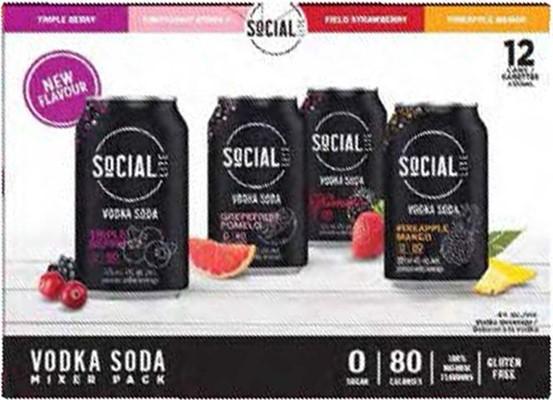 Aware Beverages Social Lite Vodka Soda Mixed Pack 4260ml