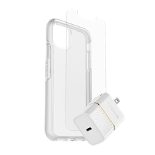 OtterBox - iPhone 12/12 Pro  Symmetry Clear Protection + Power Kit Bundle
