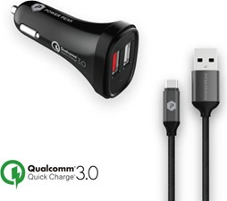 PowerPeak Quick Charge 3.0 Type-C Car Charger with 4ft. braided Cable