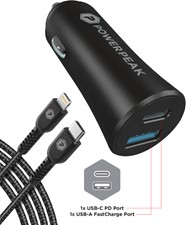 PowerPeak Dual Port Fast Charge PD Car Charger w/USB-C to Lighting