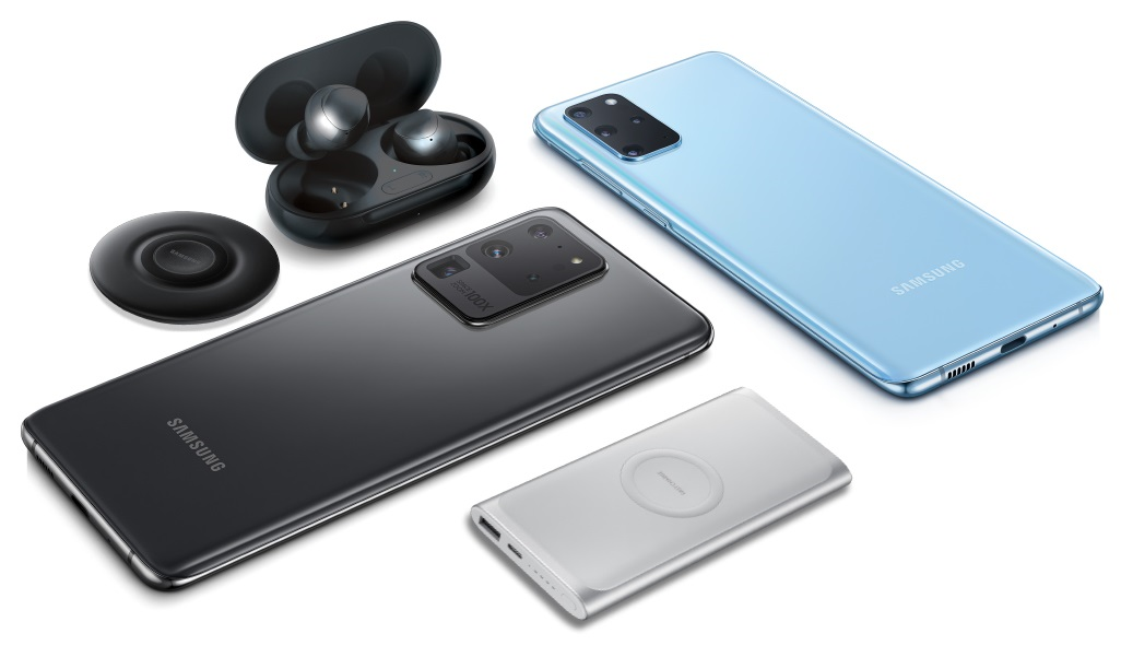 Samsung Galaxy S20+ 5G and S20 Ultra 5G phones with Galaxy Buds+ and Power Bundle.