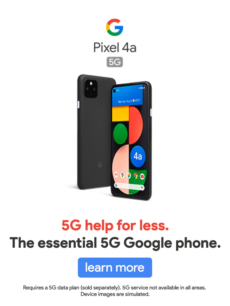 Get the Google Pixel 4a 5G Tdoay!