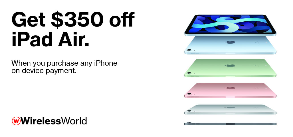 $350 off iPad Air with purchase of iPhone