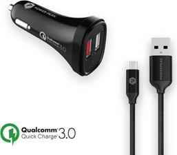 PowerPeak Quick Charge 3.0 Micro Car Charger with 4ft. braided Cable