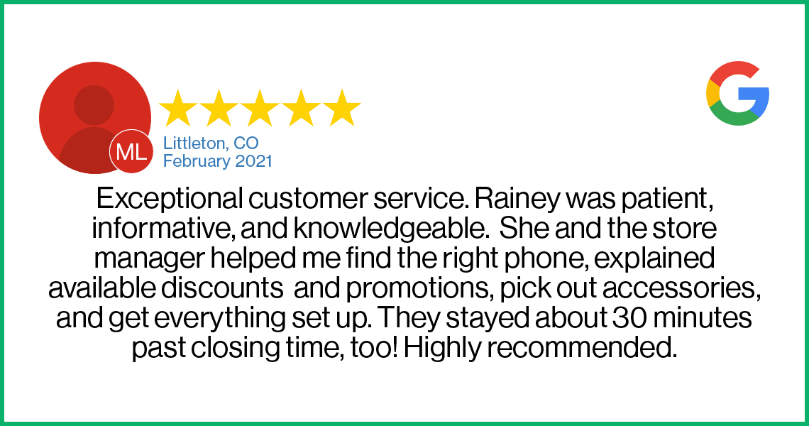 Check out this 5-star review about the Verizon Cellular Plus store in Littleton, CO.