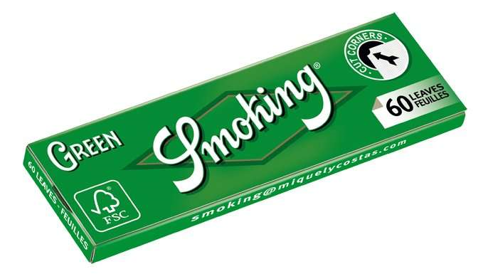 Smoking, Green 1.25 Size Rolling Papers