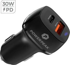 PowerPeak Powerpeak - Dual Port Power Delivery Car Charger 30W PD