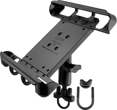 "RAM Mounts RAM Tab-Tite Handlebar U-Bolt Mount for Large 10"" Tablets with Cases - Medium Arm - B Size"