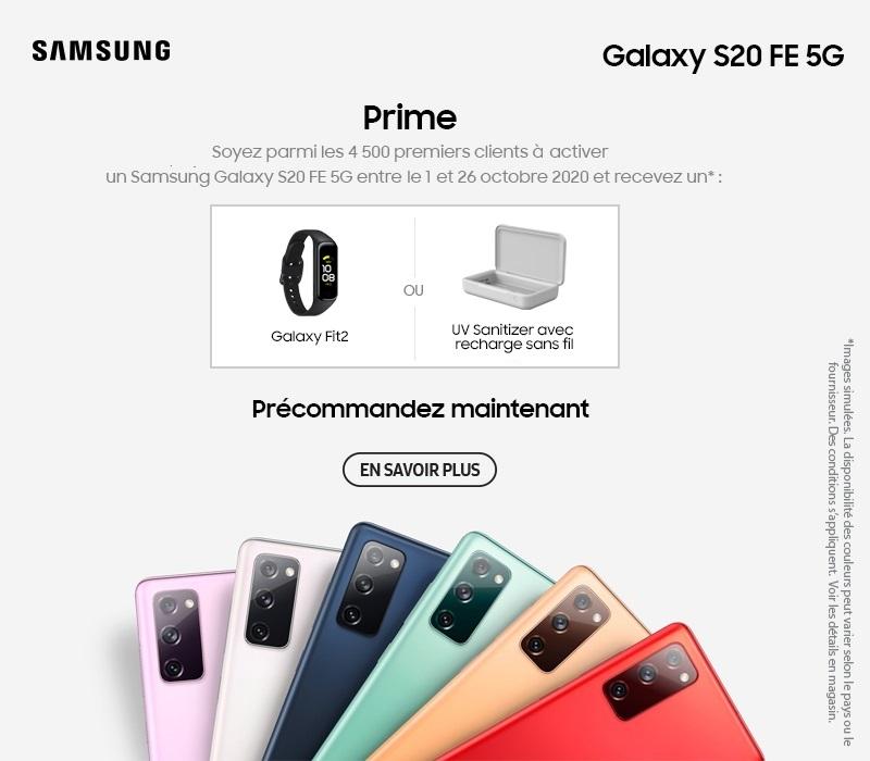 Précommandez un Samsung Galaxy S20 FE et recevez un cadeau bonus. Cliquez pour en savoir plus.