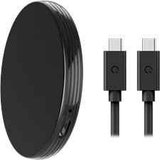 Qmadix - Portable Magnetic Wireless Charger 15w And Usb C Cable 6ft - Black