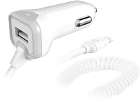 Qmadix 3.4A Lightning Car Charger with Extra USB
