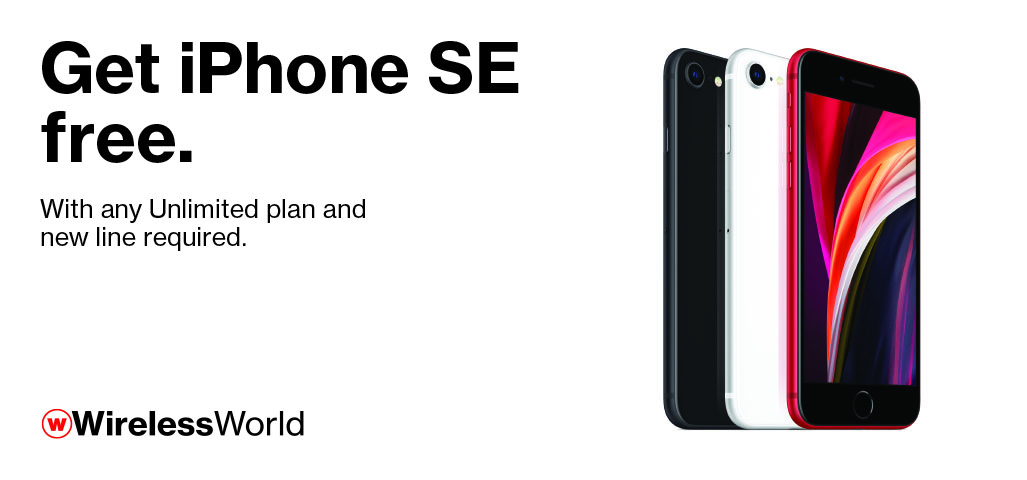 iPhone SE free with any Unlimited plan and new line.