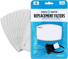 Safe-Mate Safe+Mate Replacement Filters for Cloth Masks Kids Size - 10pk