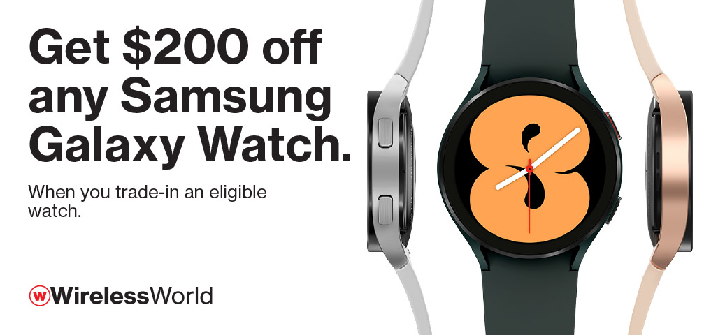 Get $200 off any Samsung Galaxy Watch when you trade in eligible watch.