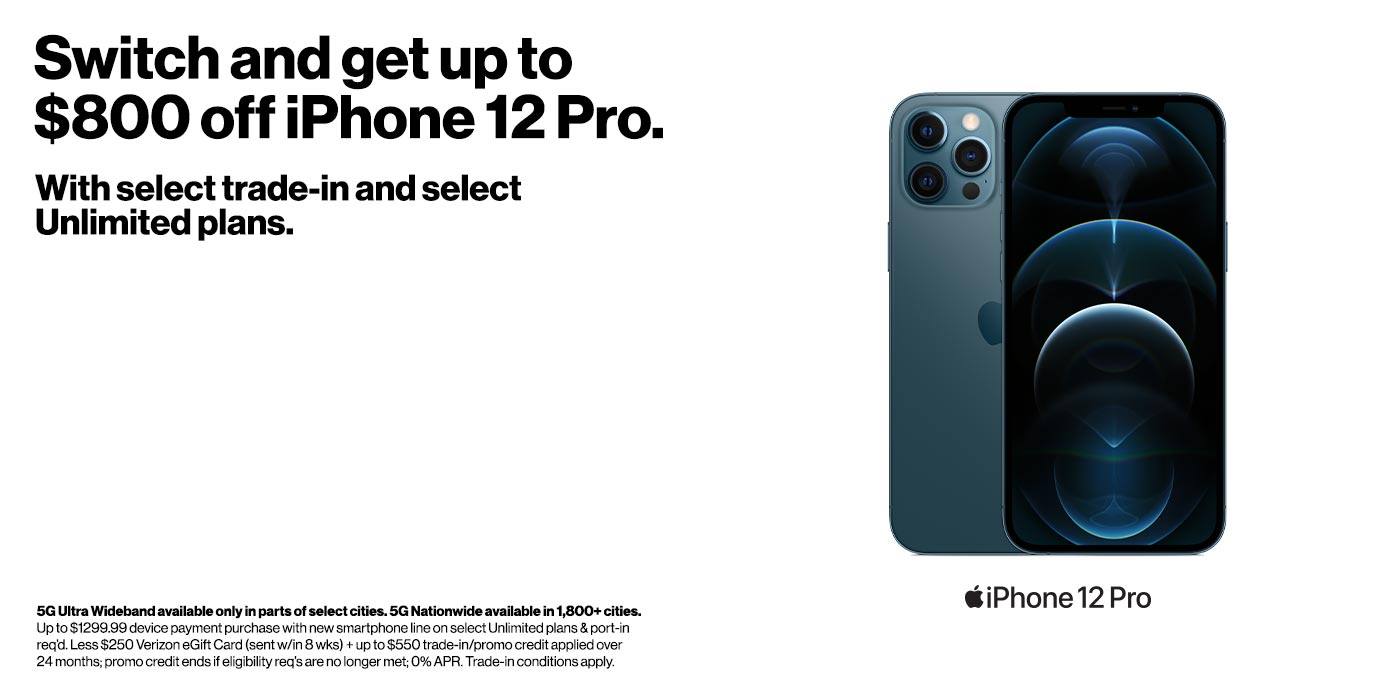 Switch and get up to $800 off iPhone 12 Pro