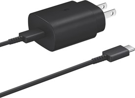 Samsung OEM Black 25W USB-C PD Wall Charger w/ USB-C to USB-C Cable
