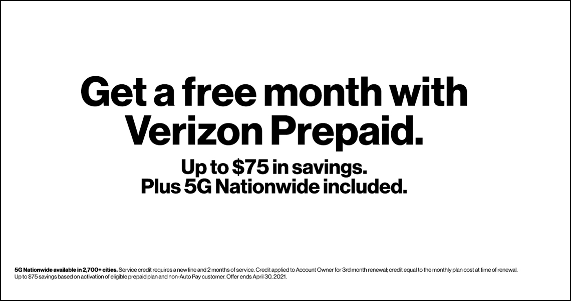 Get a free month of service with Verizon Prepaid.