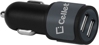 Cellet Dual Port High Powered Universal Car Charger 10W/2.1A
