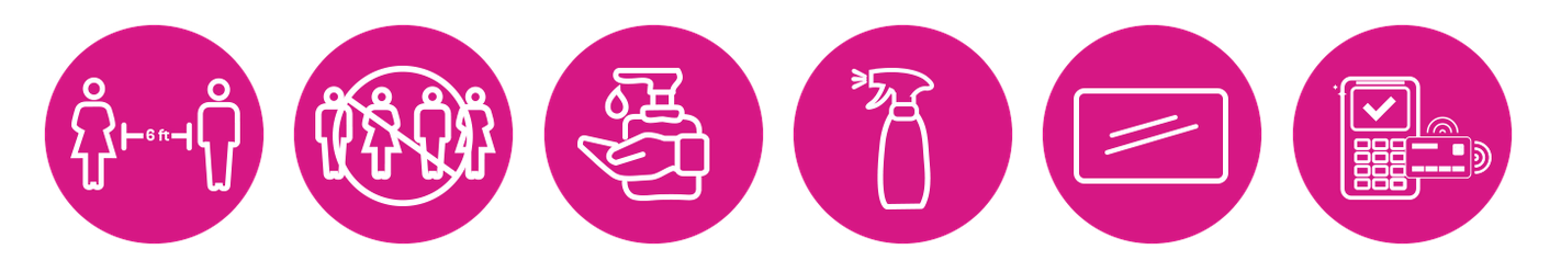 Six icônes pour les mesures de sécurité que nous prenons en magasin.