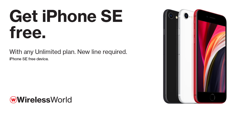 Get the iPhone SE Free with new line and unlimited plan.