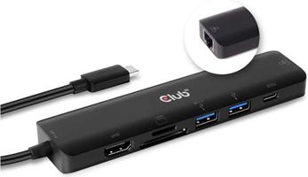 Club3D - USB-C 7 in 1 Hub to HDMI 4K60HZ+SDTF Card Slot + 2X USB + USB-C PD + RJ45