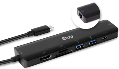 Club3D - USB-C 7 in 1 Hub to HDMI 4K60HZ+SDTF Card Slot + 2X USB + USB-C PD + RJ45
