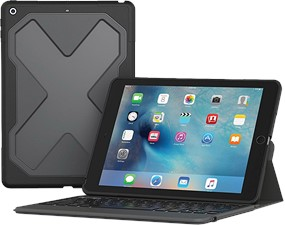 Zagg iPad 9.7 (2018 / 2017) Rugged Messenger Backlit Bluetooth Keyboard Case