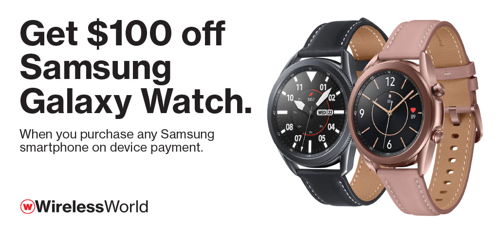 Get $100 off Samsung Galaxy Watch with purchase of Samsung smartphone