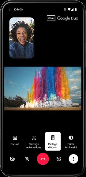 Image du Pixel 5 affichant le partage d'écran à l'aide de Google Duo