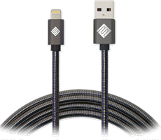 Qmadix 3.3' Full Metal Jacket USB-A to Lightning Premium Braided Metallic Charge/Sync Cable