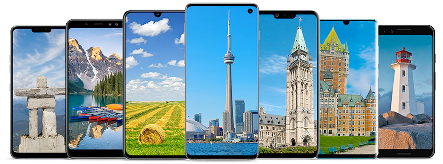 A set of 7 smartphones showcasing different landscapes from across Canada