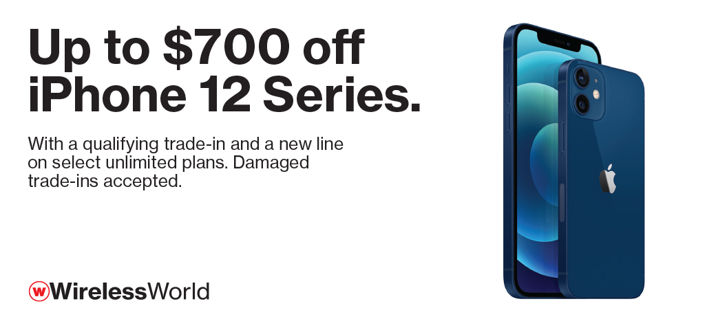 Up to $700 off iPhone 12 series with new line