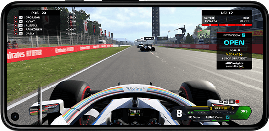 Image of Formula1 racing being streamed onto the phone