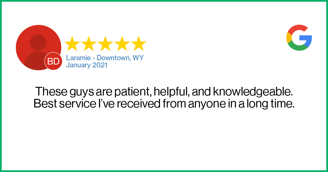 Check out this recent customer review about the Verizon Cellular Plus store in Laramie, Wyoming.