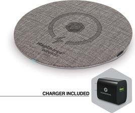 PowerPeak - 15W Aluminum MagCharge Wireless Fast Charging Pad(Fast Charger Adapter Incl.)