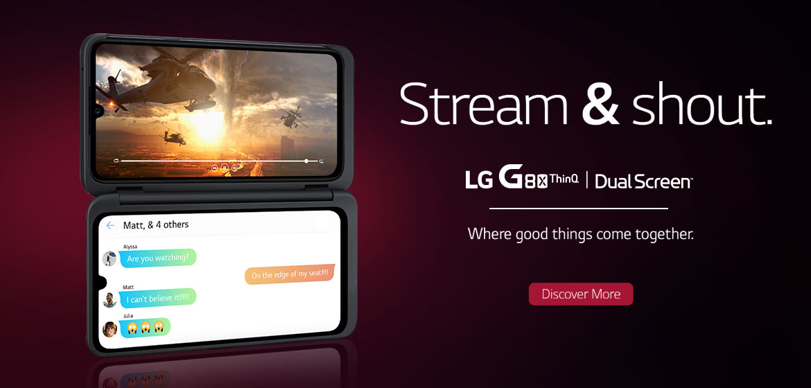 LG G8x with dual screens, one with video streaming and one with messaging.