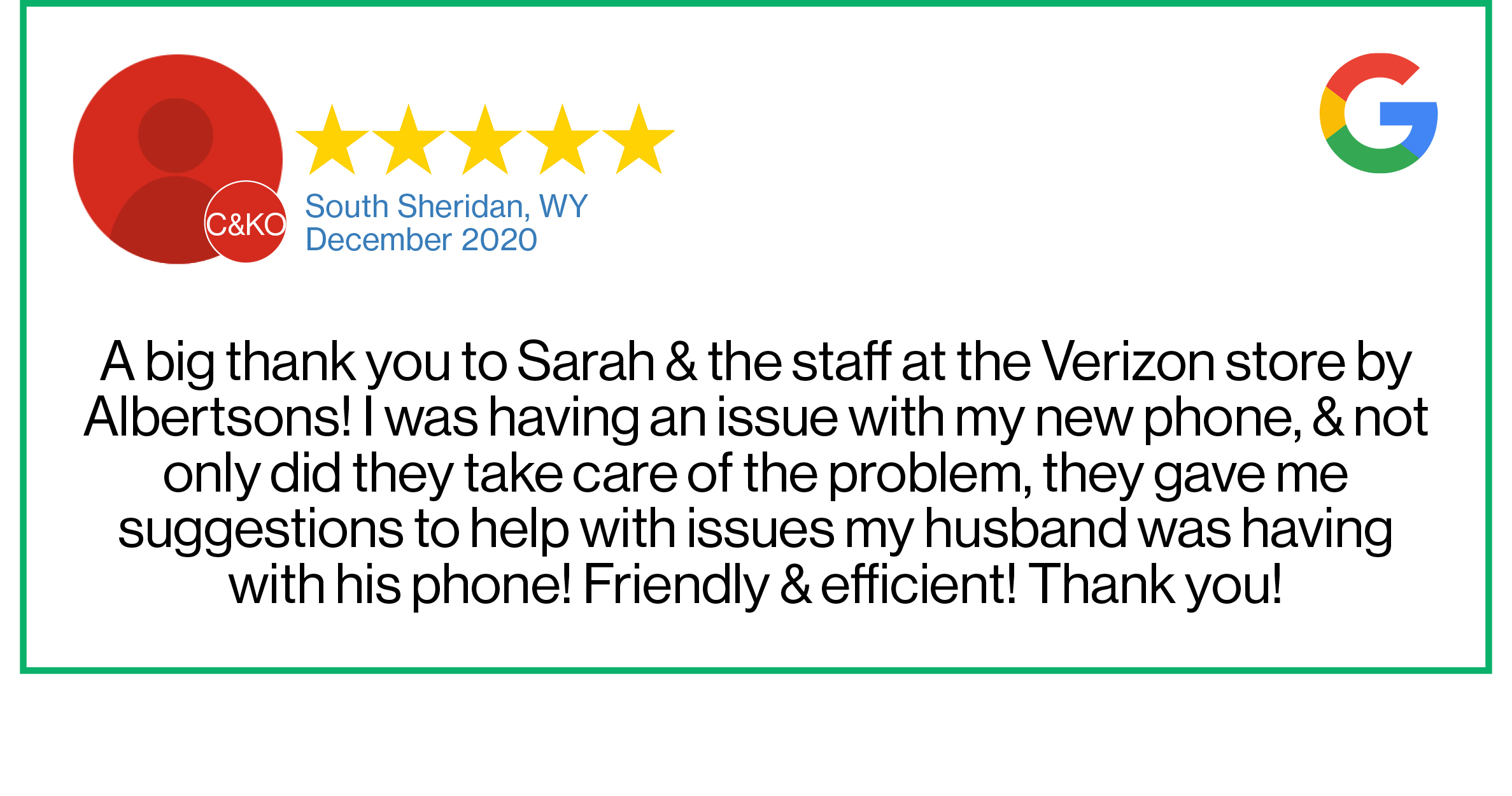 Check out this recent customer review about the Verizon Cellular Plus store in Sheridan, Wyoming.