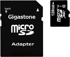 Gigastone MicroSDXC 128GB 2-in-1 Class 10 Memory Card and SD Adapter