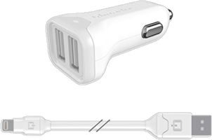 Qmadix 2.4A Lightning Car Charger with 4' Round Cord