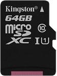 Kingston Canvas Select 64GB microSD Card w/ Adapter