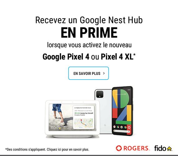 Recevez un Google Nest Hub en prime lorsque vous activez le nouveau Google Pixel 4