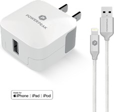 PowerPeak Single Port Rapid Wall Charger WIth LIghtning Cable