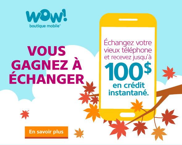 Gagnez jusqu'à 100 $ en crédit instantané en échangeant votre ancien téléphone