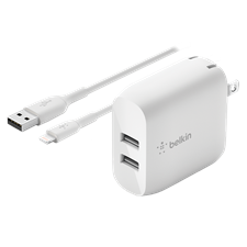 Belkin Dual Port Usb A 24w Wall Charger With Apple Lightning Cable 3ft