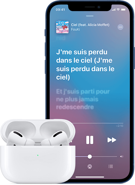 iPhone 12 avec AirPods Pro