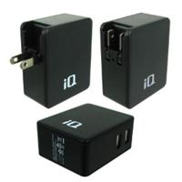 iQ Dual USB 4.8A Wall Charger Foldable Prongs, 100V-240V